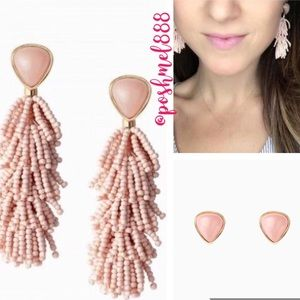 :: Stella & Dot [2in1] Blush Riva Fringe Earrings